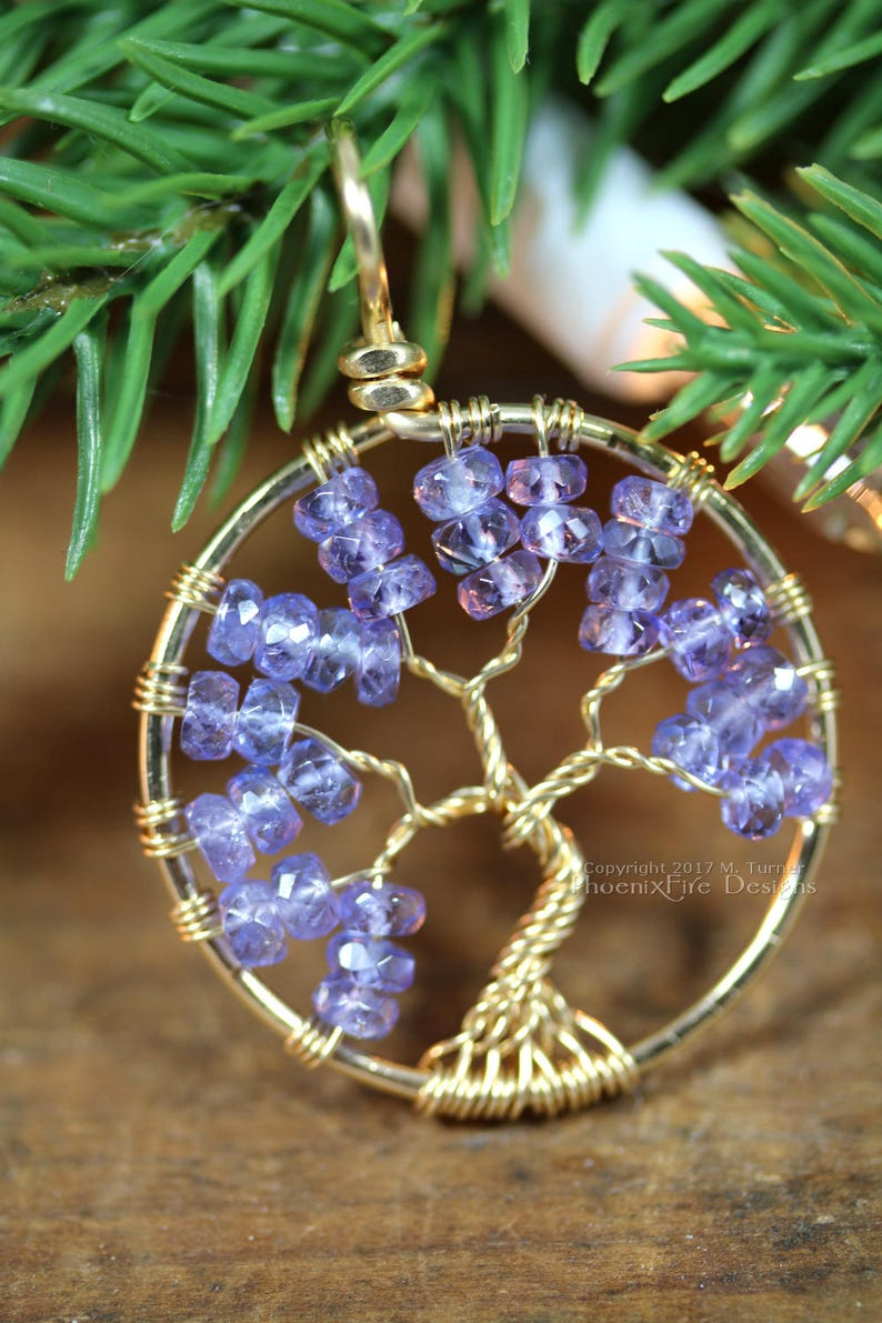 14k Tanzanite Necklace Tree of Life Pendant Wire Wrapped image 0