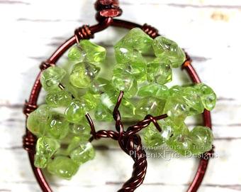 Peridot Tree of Life Pendant Brown Wire Spring Green Gemstone Necklace Birthstone Jewelry Wire Wrapped Handmade Banyan Tree Oak Tree Artisan