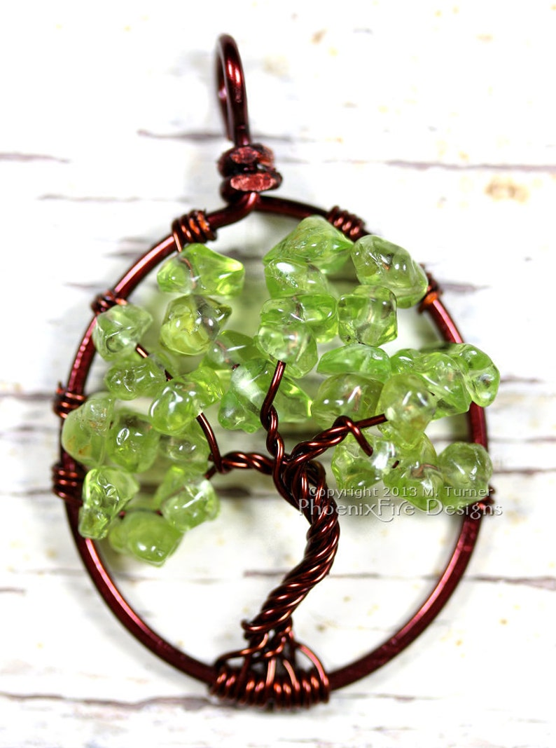 Peridot Tree of Life Pendant Brown Wire Spring Green Gemstone image 0