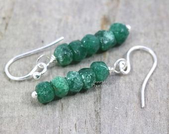 Emerald Green Aventurine Earrings 925 Sterling Silver Dainty Earring Simple Dark Green Gemstone Jewelry Dangle Style Woodland Rustic RTS