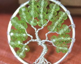 Peridot Tree of Life Pendant Silver Wire Wrapped Jewelry Wooland Forest Necklace August Birthstone Gemstones Spring Green Birthday Gift Her
