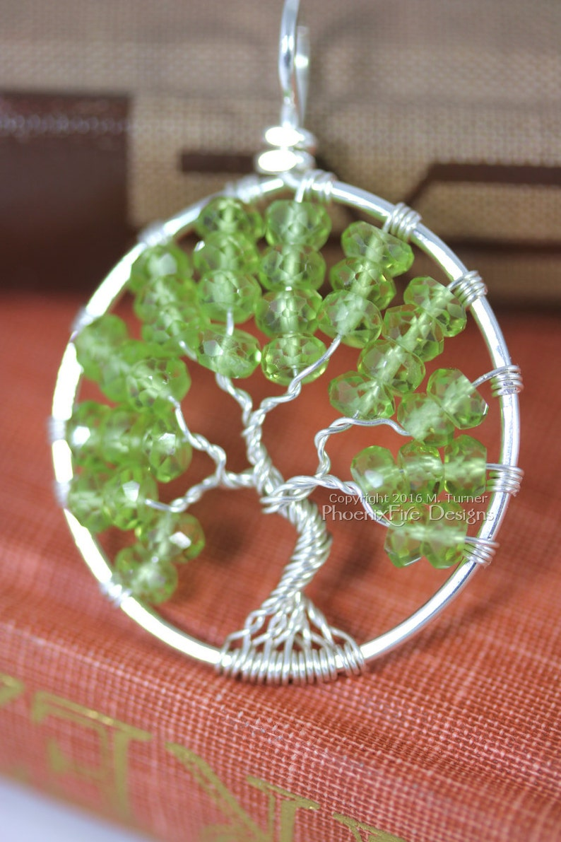 Peridot Tree of Life Pendant Silver Wire Wrapped Jewelry image 0