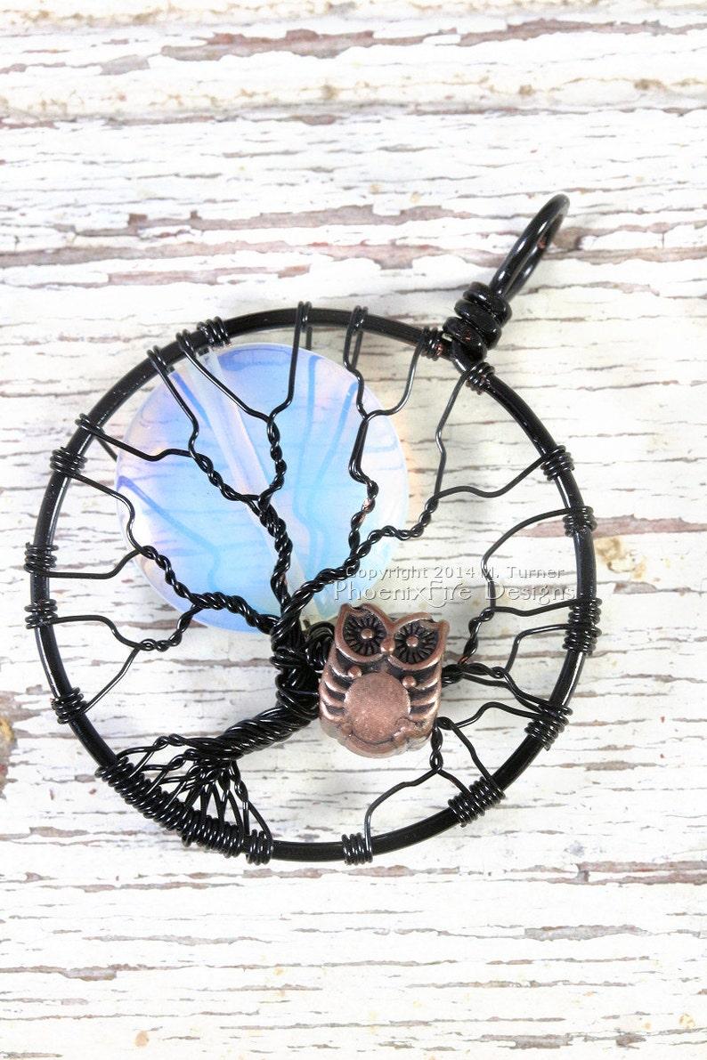 Rainbow Moonstone Owl Tree-of-Life Pendant  Opalite Full Moon image 1