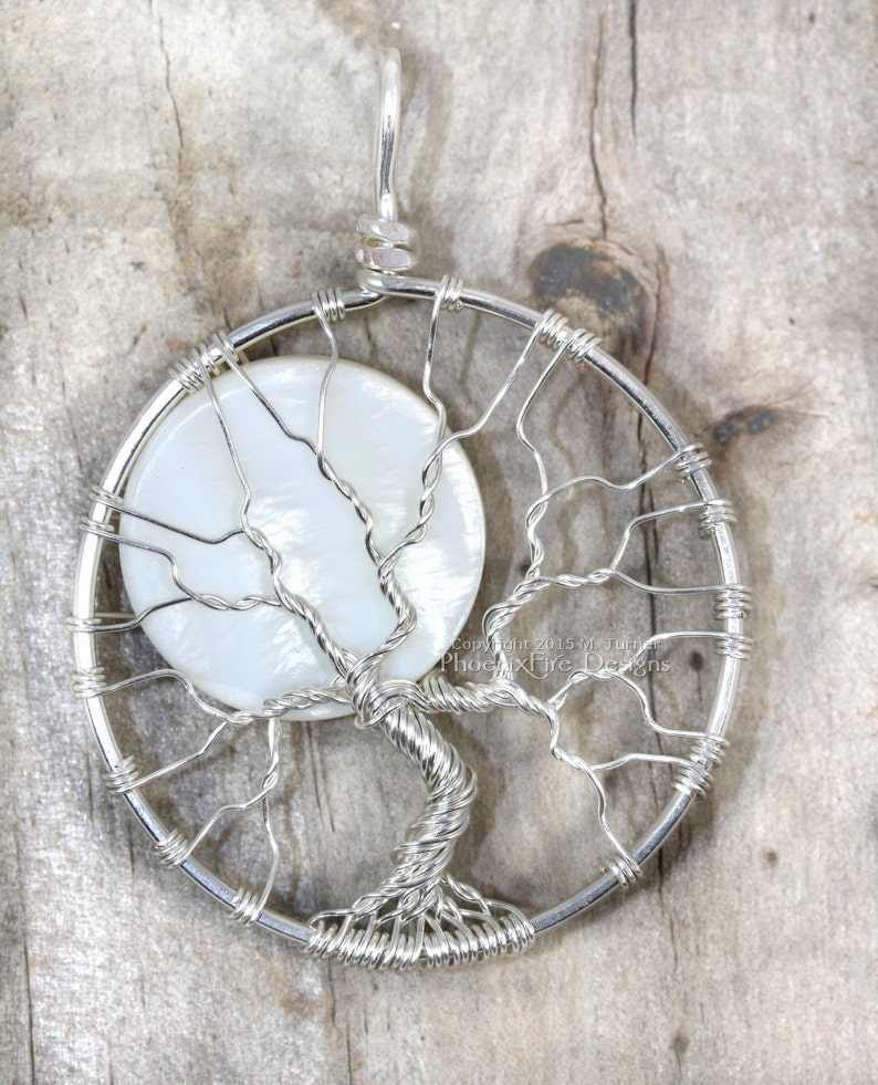 Full Moon Necklace Tree of Life Pendant Silver Wire Wrapped image 0