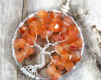 Harvest Tree of Life Pendant Red Orange Carnelian Silver Wire Wrapped Jewelry Halloween Tree Autumn Leaves Faceted Orange Gemstone