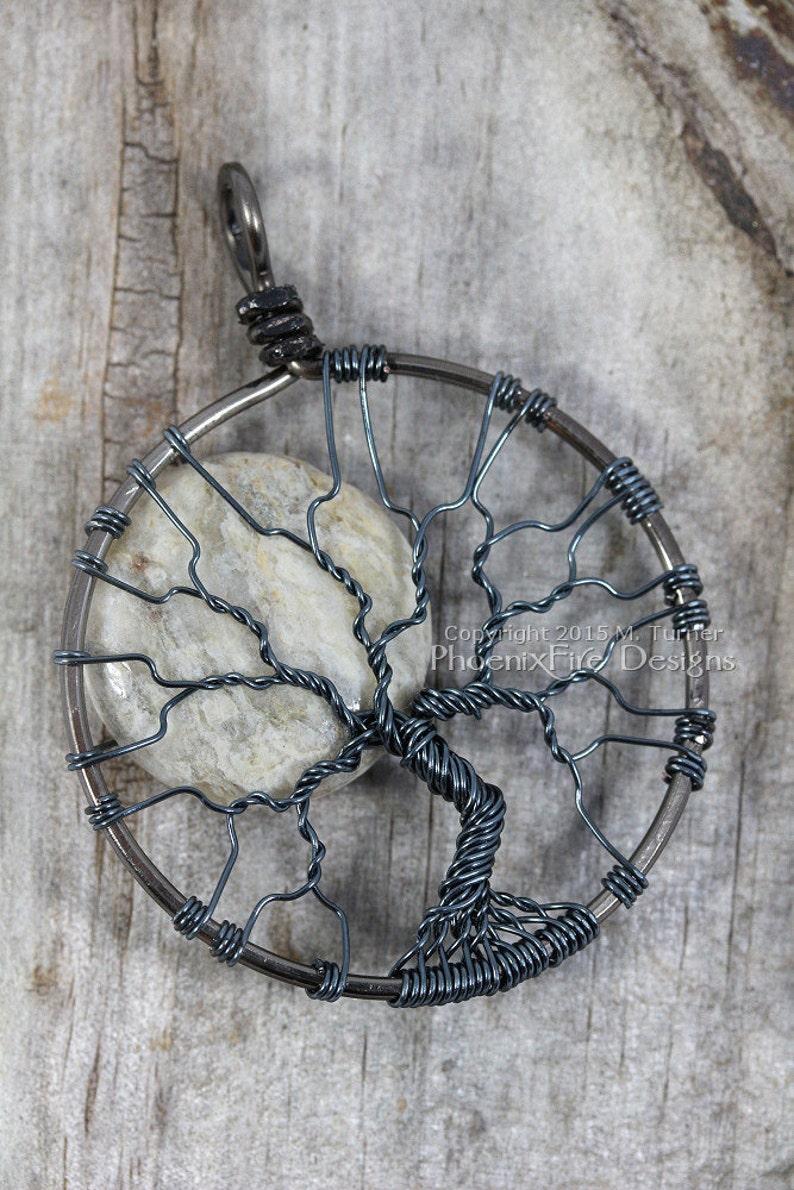 Grey Feldspar Necklace Full Moon Tree of Life Pendant Gunmetal image 0