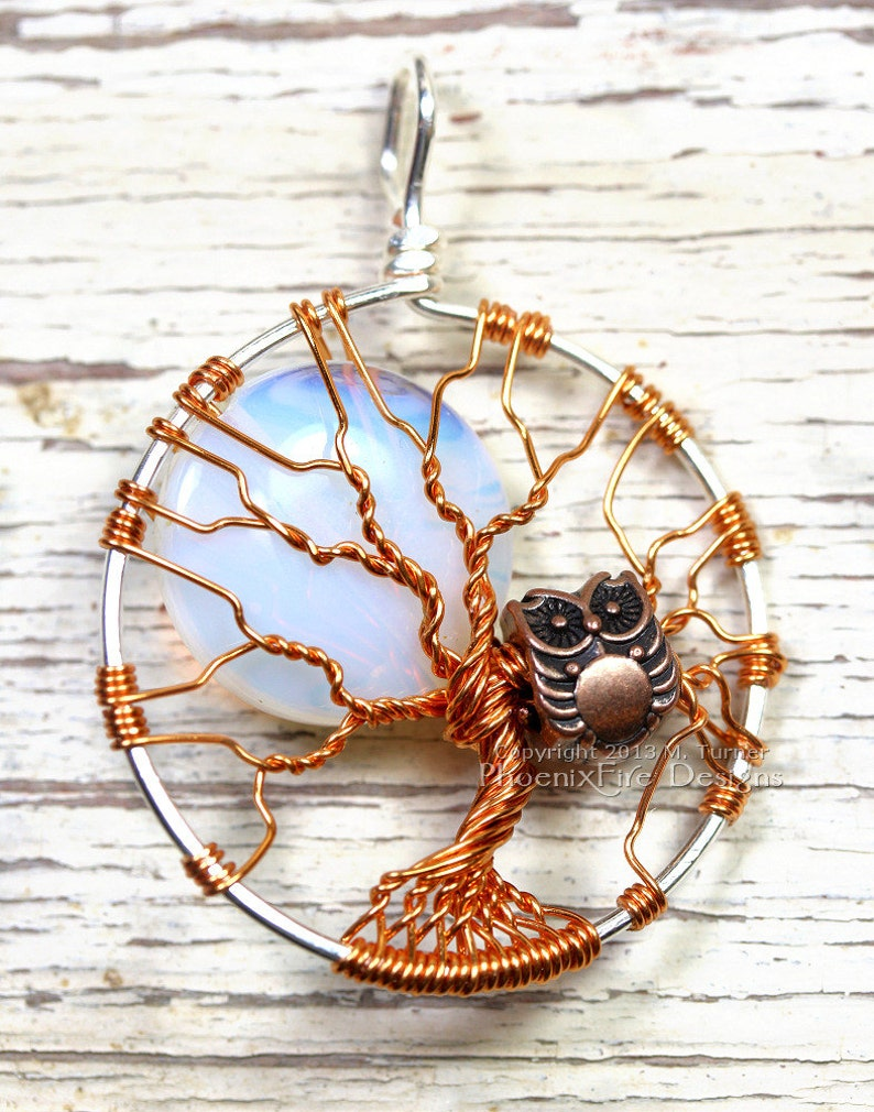 Owl Tree of Life Pendant  Full Moon Opalite Rainbow Moonstone image 0