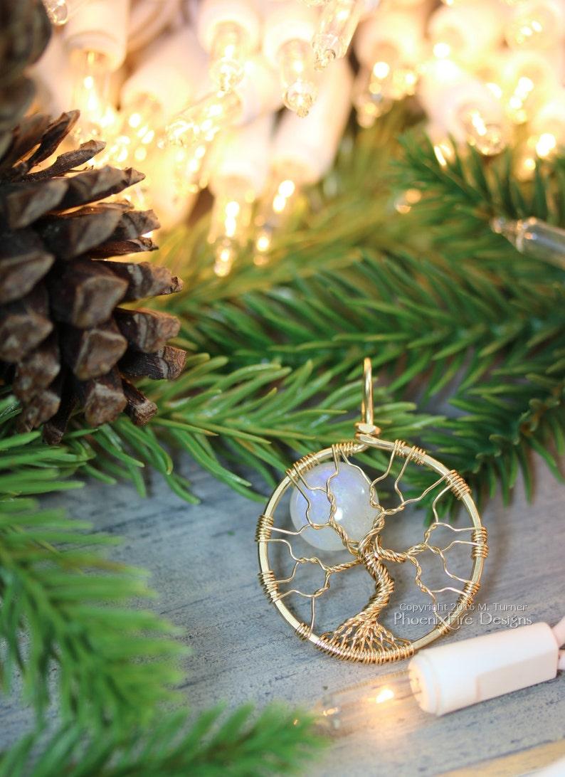 14k gf Rainbow Moonstone Tree of Life Pendant Luxury Gold image 1