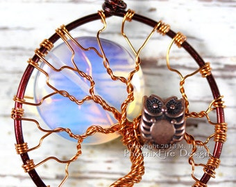 Full Moon Owl Tree of Life Pendant Opalite Rainbow Moonstone Mixed Metal Necklace Two Tone Brown Copper Wire Wrapped Jewelry Steampunk