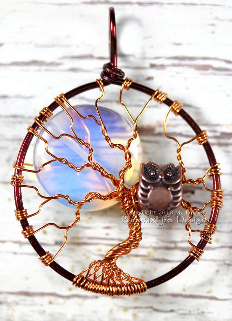 Full Moon Owl Tree of Life Pendant Opalite Rainbow Moonstone image 0