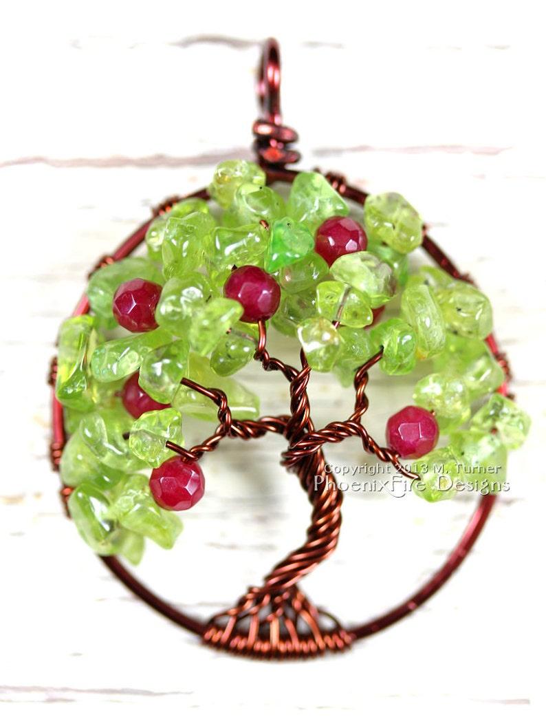 Apple Tree Tree of Life Pendant Peridot Ruby Red Jade image 0