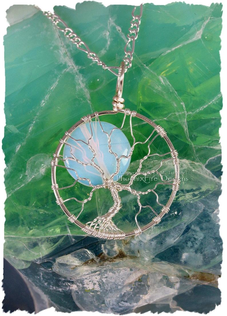 Celestial Full Moon Tree of Life Pendant Silver Opalite image 0