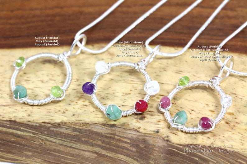 Mothers Day Birthstone Jewelry Dainty Circle Necklace Family image 0