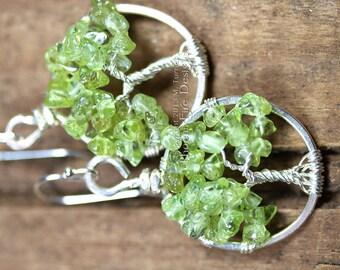 Miniature Peridot Tree of Life Earrings Sterling Silver Rustic Woodland Jewelry Lightweight Dangle Spring Green Gemstone Irish Celtic Tree