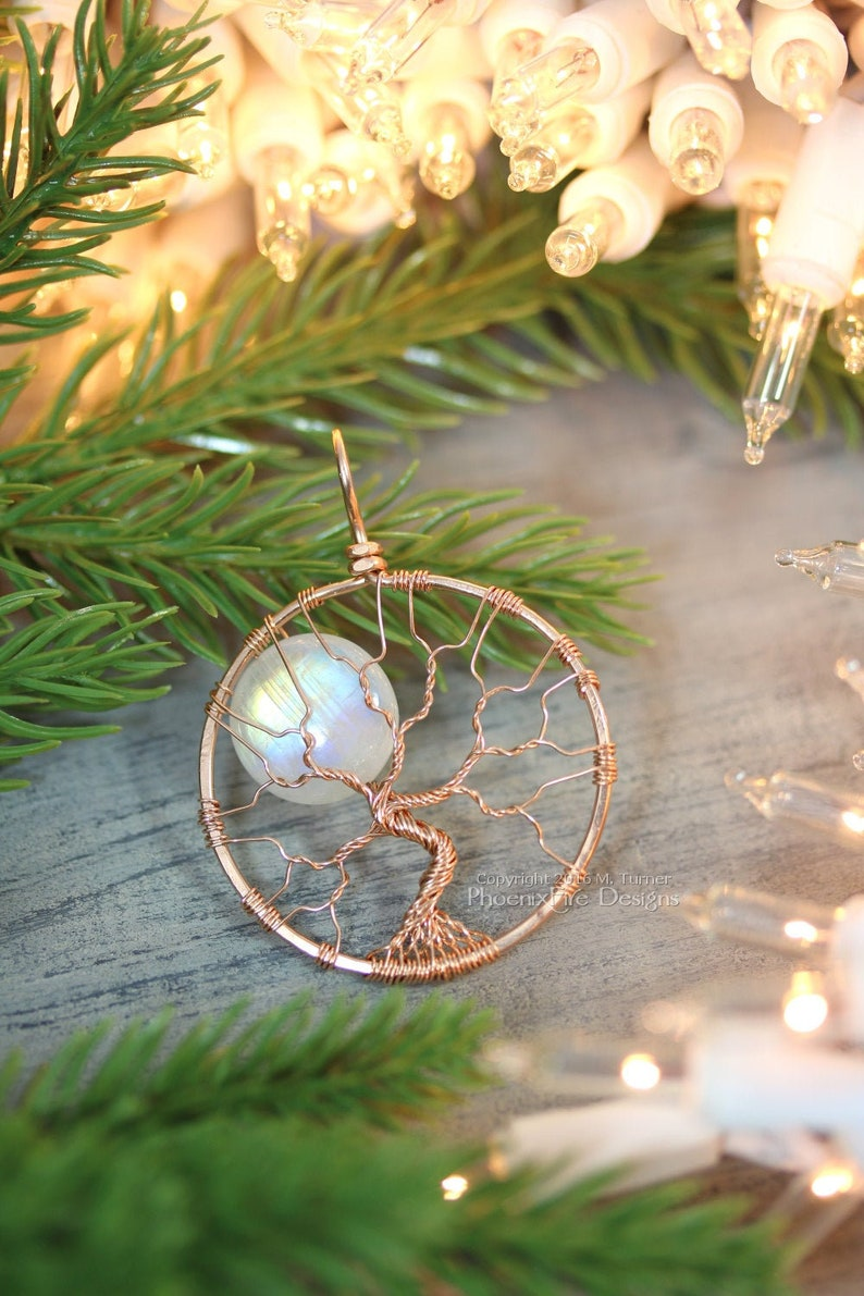 14k Rose Gold Necklace Rainbow Moonstone Tree of Life Pendant image 1