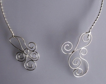 Art Nouveau Wire Work Sculpture Neck Torc, Neck Piece - Handmade, Renaissance Celtic Neck Torque
