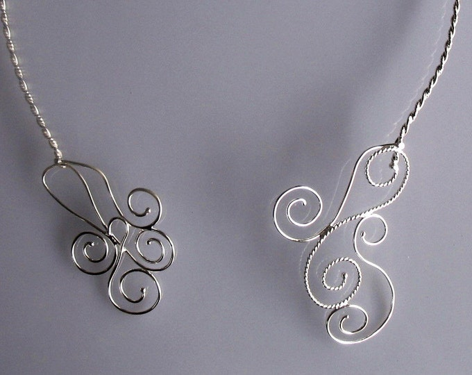 Renaissance Wire Work Neck Rings in Sterling Silver, Neck Pieces, Celtic Neck Torc Jewelry, Gifts For Her