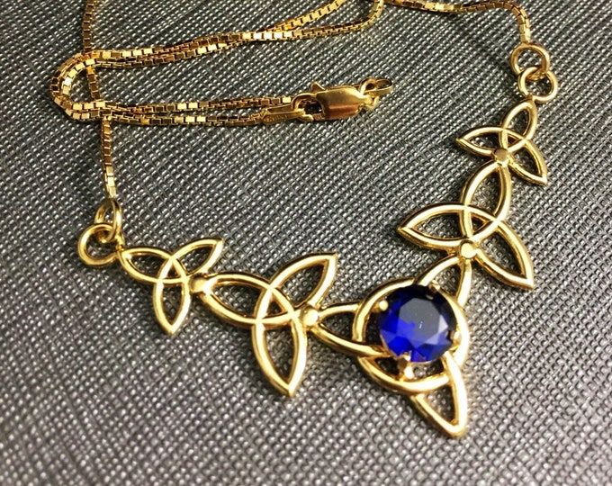 Celtic Knot Gemstone Necklace with 16 Inch Box Chain in Sterling Silver, Celtic Irish Necklace with 8mm Lab Sapphire, 24KG Plated