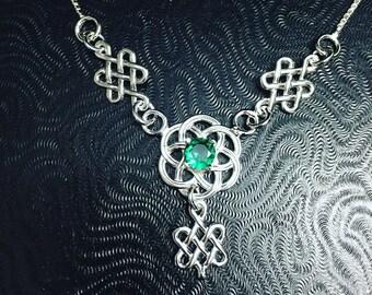 Celtic Knot Irish Gemstone Necklace 925, Renaissance Fae Scottish Symbolic Necklace, 925 Box Chain, Irish Wedding Necklaces, Boho Chic Style