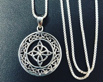 Celtic Trinity Knot Irish Necklace with 18 Inch Box Chain in Sterling Silver, Celtic Necklaces, Irish Necklaces, Irish Pendants, Boho Style