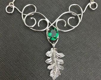 Fae Woodland Leaf Necklace in Sterling Silver, Statement Leaf Gemstone Necklace, Artisan Handmade Renaissance Gem Necklace with Box Chain