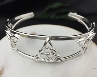 Celtic Knot Bracelet Cuff in Sterling Silver, Irish Jewelry, Gifts For Her, Artisan Bracelet Cuffs