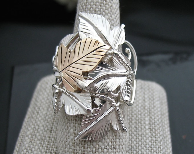 Woodland Leaves Ring in Sterling Silver Handmade Ring, Statement Woodland Ring, artisan rings, Leaf Jewelry, Gold-filled leaf