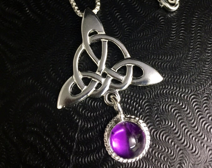 Celtic Knot Amethyst Moonstone Necklace in Sterling Silver, Gifts For Her, Birthday Gifts, Irish Necklaces