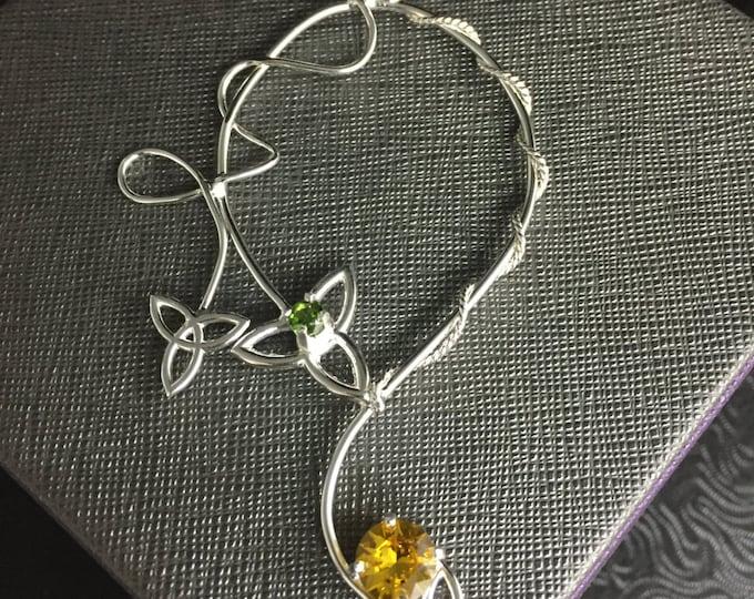 Celtic Irish Statement Necklace Trinity Knot Jewelry, Sterling Silver and Gemstone, Wedding Accessory, Statement Necklace, Elvish Necklace