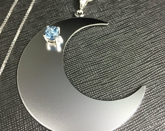 Large Statement Crescent Moon Gem Necklace, Handmade Crescent Moon Jewelry, Gemstone Moon Pendant, 16 Inch Box Chain .925 Sterling Silver