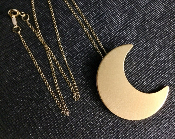 Stevie Nicks Crescent Moon inspired Necklace with GOLD-FILLED Curb Chain,  24K Gold Plate Overlay on Sterling Silver Moon Pendant