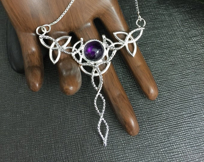 Celtic Knot Amethyst Necklaces in Sterling Silver, Irish Jewelry, Large Necklaces, Gifts For Her, Handmade Celtic Irish Boho Wedding