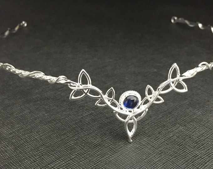 Celtic Circlet in Sterling Silver, Irish Artisan Tiaras, Gemstone Celtic Diadem, Handmade Celtic Knot Cosplay Headpiece