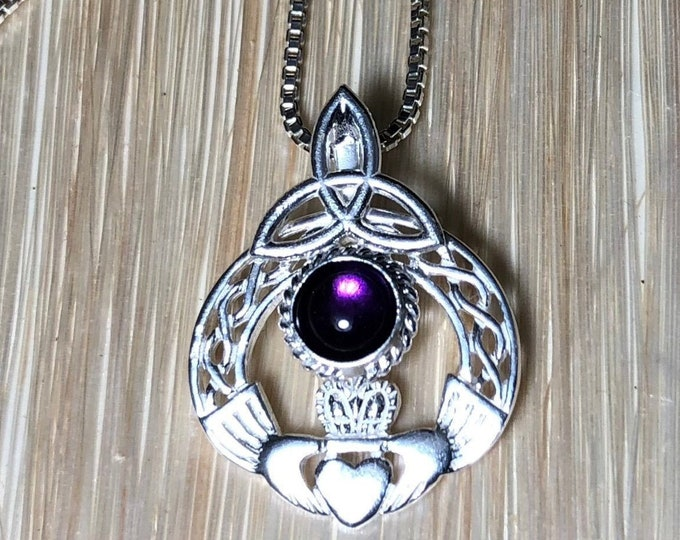 Irish Amethyst Necklace in Sterling Silver, Celtic Necklaces, Claddagh Necklaces with Cabochon, Charmed TV Show, Celtic Knotwork Necklaces