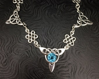 Celtic Knots Gemstone Necklace, Blue Topaz Necklace, Irish Celtic Necklaces,  Sterling Silver Box Chain, Handmade