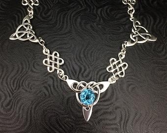 Irish Victorian Sterling OOAK Necklace, Boho Celtic Bridal Blue Topaz Necklace, Irish Celtic Necklaces,  Sterling Silver Box Chain, Handmade