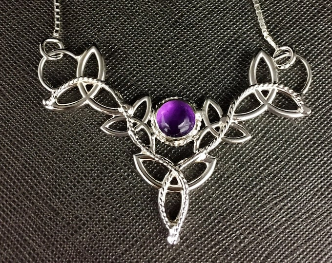 Celtic Knot Amethyst Necklace with 16 Inch Box Chain in Sterling Silver Celtic Trinity Knot Necklace with 8mm Cabochon, Symbolic
