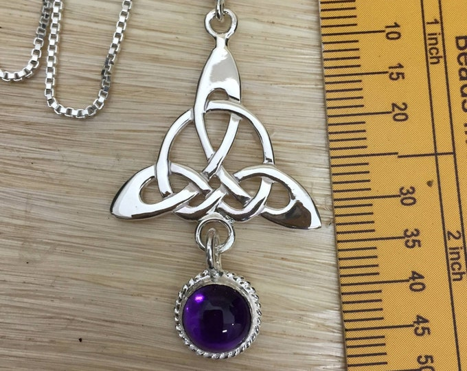 Celtic Trinity Knot Amethyst Moonstone Sapphire Necklace with Chain, Irish Bohemian Celtic Hipster Necklace, Amethyst Celtic Boho Necklace