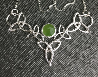 Celtic Jade Necklace with 16 Inch Box Chain, Irish Necklace with Gemstone in Sterling Silver, Scottish Necklaces Handmade