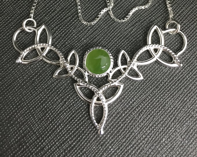 Celtic Trinity Knot Jade Pendant Necklace with 16 Inch Box Chain Sterling Silver, Celtic Irish Necklace with Green Jade Cabochon, Handmade