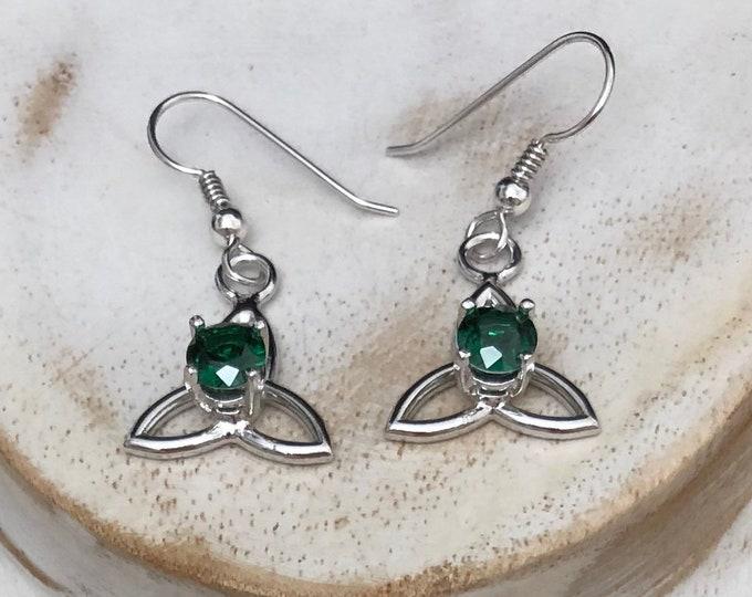 Celtic Trinity Knot Earrings, 4mm gemstones, Irish Knot Earrings, Simple Sterling Silver Celtic Earrings with Gemstones