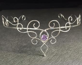Renaissance Bridal Tiara in Sterling Silver, Elvish Circlet, Hair Jewelry, Hair Circlet