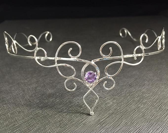 Fae Bridal Circlet, Elvish Renaissance Wedding Gemstone Circlet, Sterling Silver Tiara, Hair Jewelry, Hair Circlet