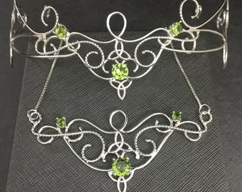 Elvish Wedding Tiara and Necklace Set, Celtic Knot Bohohemian Circlet Faceted Peridot, Sterling Silver Handmade Boho Victorian Bridal Set