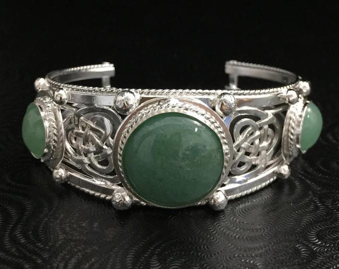 Celtic Statement Cuff Bracelet Sterling Silver, Irish Triquetra Gemstone Bracelet Cuff, Large OOAK Handmade Sterling Silver Bracelet Cuffs