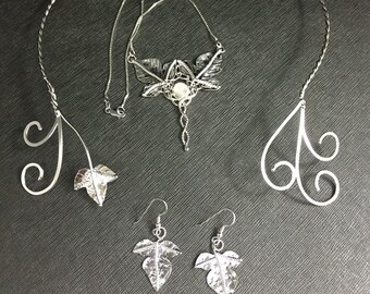 Woodland Neck Ring, Necklace and Leaf Earrings inSterling Silver, Handmade Jewelry Sets