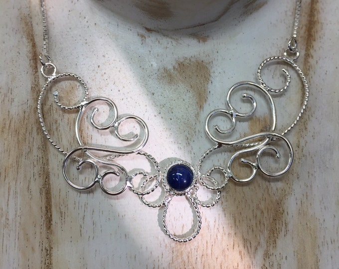 Bohemian Elvish Necklace with Blue Star Sapphire in Sterling Silver, Victorian Necklaces, Gifts For Her, Celtic Scrolling Jewelry Designs