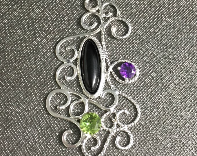 Bohemian Amethyst Peridot Onyx Wirework Necklaces, filigree Necklaces, Wire Sculpture Necklace, Renaissance Victorian Necklace