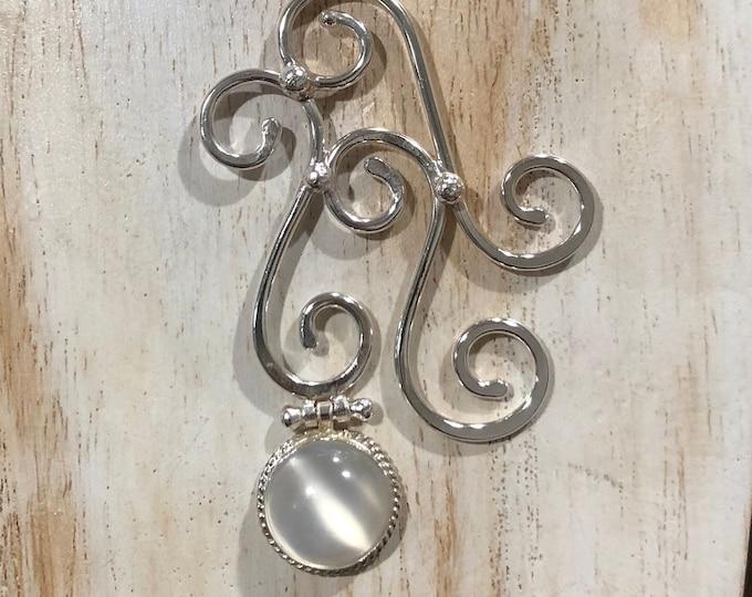Art Nouveau Labradorite Necklace in Sterling Silver With Cabochon Gemstone, Art Nouveau Bohemian Necklaces with Moonstone in Sterling Silver