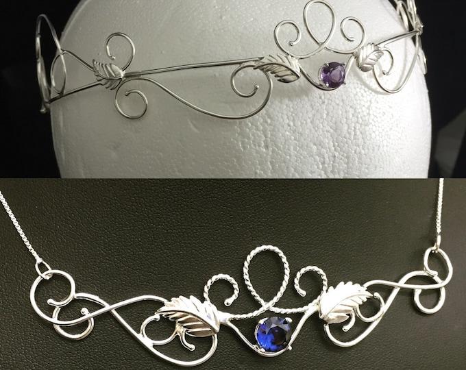 Renaissance Fae Wedding Circlet Necklace Set, Woodland Romantic Bridal Tiara Matching Necklace Sets, Bohemian Victorian Circlet Necklace Set